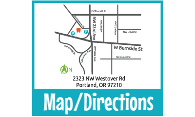 Map image of NW Portland location of Portland Children's Dentistry