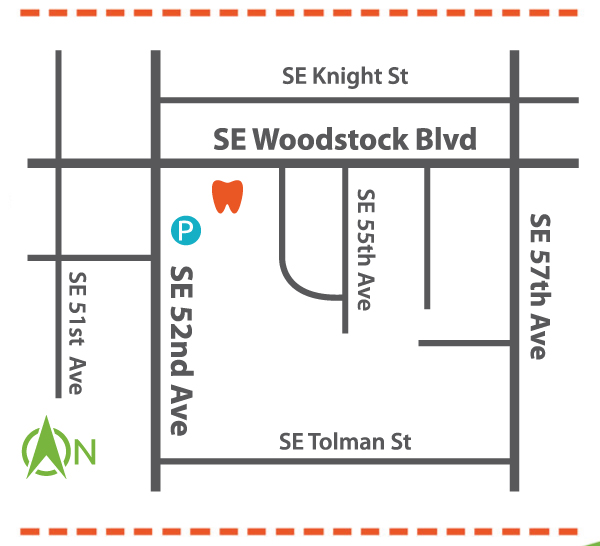 A map to Portland Children's Dentistry's SE pediatric dentist office on SE Woodstock Blvd.